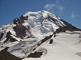 Icefall - The 730 m (2,400 ft) icefall (center) in the Roosevelt Glacier, Mount Baker, Washington, U.S.