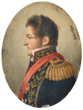 """Half length painted portrait of a man with curly auburn hair and sideburns facing left and wearing an elaborate military tunic embroidered in gold with heavy epaulettes, high embroidered collar and a red sash."""