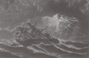 1806 Great Coastal hurricane - Image: Rose in Bloom overturns during 1806 hurricane