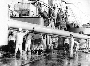 Russian battleship Rostislav - Cleaning the guns of Rostislav.