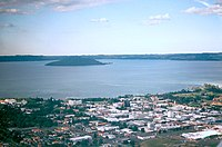 Downtown Rotorua, Lake Rotorua, and Mokoia Island.