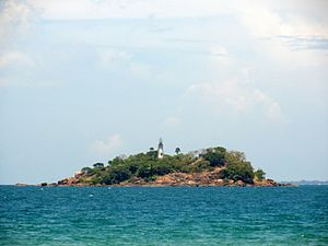 Trincomalee Bay - View of Round Island, located on the northern side of the bay's mouth.