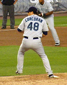 Roy Corcoran pitching in June 2008.jpg