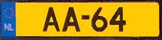 Vehicle registration plates of the Netherlands - Image: Royal Dutch License plate AA 64