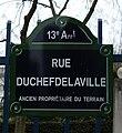 Rue Duchefdelaville, Paris 13, street sign.jpg