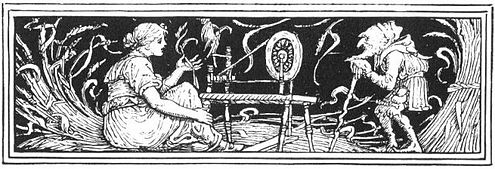Illustration by Walter Crane from Household Stories by the Brothers Grimm (1886) Rumpelstiltskin-Crane1886.jpg