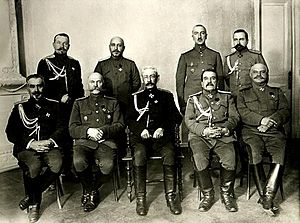 Northern Front (Russian Empire) - The headquarters staff of the Northern Front, with General Nikolai Ruzsky in the center, 1917