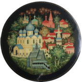 Lacquered box with a Kholuy miniature, depicting the town of Suzdal