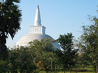 Buddhism in Sri Lanka - According to the Mahavamsa, the Great Stupa in Anuradhapura, Sri Lanka (around 140 BCE.).