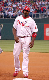 Ryan Howard wearing the current Phillies home uniform (with Harry Kalas  patch in 2009) e4d8dfd31ca