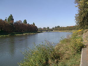 Uzh River - Bridge on Uzh river, Uzhgorod, Ukraine.