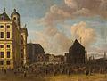 SA 1755-De Dam-De Dam naar het noorden gezien met het Stadhuis, de Nieuwe Kerk, de Waag en de Zeevismarkt.jpg