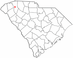 National Register of Historic Places listings in Greenville, South Carolina - Location of Greenville in South Carolina