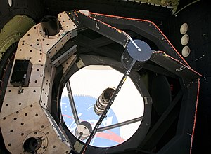 Stratospheric Observatory for Infrared Astronomy - The NASA logo reflected in SOFIAs 2.5-meter primary mirror.