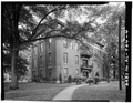 SOUTHEAST VIEW OF REAR FACADE AND REAR ENTRANCE - Talladega College, Swayne Hall, Talladega, Talladega County, AL HABS ALA,61-TALA,5A-4.tif