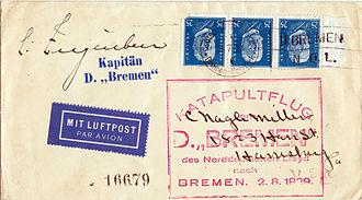 SS Bremen (1928) - Cover flown from SS Bremen on 2 August 1929 signed by Capt. Ziegenbein