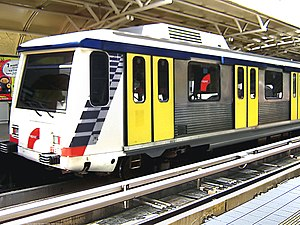 1995 in Malaysia - A Star LRT train at the Masjid Jamek LRT station.