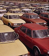 us-specification saab 99s on the dock in providence, rhode island (1973)