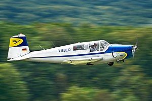 Saab Group - Saab Safir 91B trainer airplane just started from Hahnweide airfield.