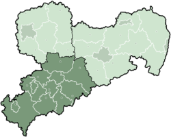 Map of Saxony highlighting the Regierungsbezirk of Chemnitz