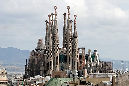 Passion Facade Of La Sagrada Familia In Barcelona Spain Cranes Digitally Removed