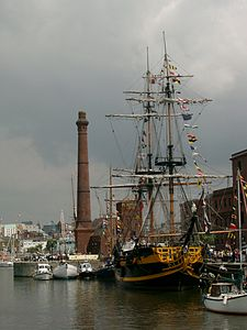 Sailing ship at the Canning Half-tide Dock, Liverpool.JPG