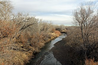 Saint Charles River (Colorado) - The river in late 2014, as viewed from a bridge on 27th Lane, southeast of Pueblo.