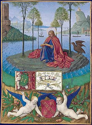 Hours of Étienne Chevalier - Saint John on Patmos - probably the first of the surviving miniatures from the Hours.