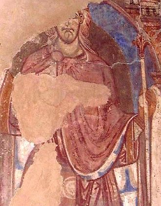 Oswald of Northumbria - A 12th-century painting of St Oswald in Durham Cathedral
