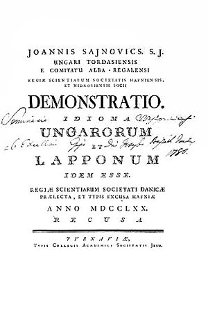 Comparative method (linguistics) - Title page of Sajnovic's 1770 work.