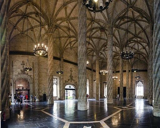 Vertragssaal der Seidenbörse Valencia. Sala de Contractació de la Llotja de la Seda de Valencia
