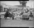 Salinas, California. Baggage is being assembled to be taken by truck to the Salinas Assembly center . . . - NARA - 536191.tif