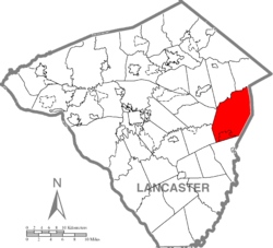 Map of Lancaster County highlighting Salisbury Township