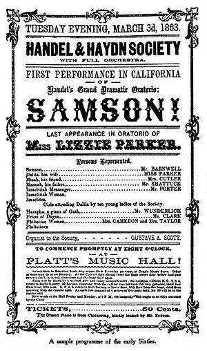 Samson (Handel) - Poster for an early American performance of Samson
