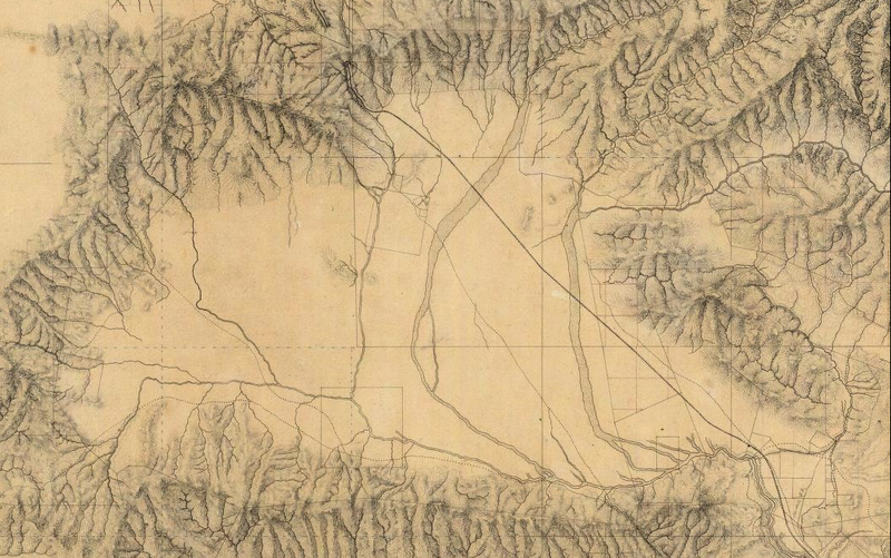 Detail of the San Fernando Valley, from a manuscript map of Los Angeles and San Bernardino topography, 1880, by William Hammond Hall, Office of the State Engineer, California.