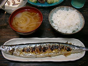 Pacific saury - Image: Sanma, miso soup and rice by jetalone