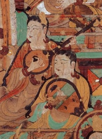 Sanxian - Possible sanxian (left) and pipa, from a 762-827 A.D. painting in the Mogao caves near Dunhuang―Grotto 46 Left interior wall, second panel. Also called cave 112.