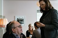 Sara and Heikki discussing – project Att skriva kulturhistoria på Wikipedia som gymnasiearbetete, run in 2016–2017.jpg