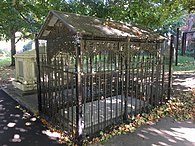 Wrought iron canopy at Siddons' grave