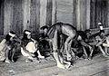 Sarawak; a Kayan tribesman making fire by rubbing cane on wo Wellcome V0037465.jpg