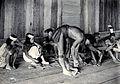 Sarawak; a Kayan tribesman making fire by rubbing cane on wo Wellcome V0037465.jpg