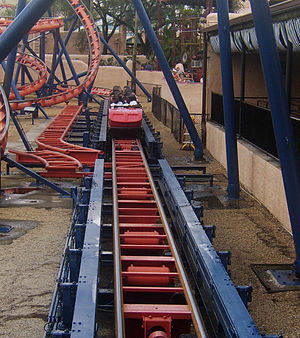 Side mounted brakes are common on Schwarzkopf roller coasters, such as Scorpion at Busch Gardens Tampa Bay Scorpionbrakerun.jpg