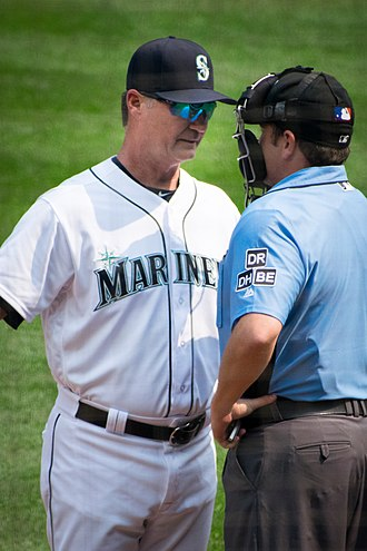 Scott Servais - Seattle Mariners manager Scott Servais arguing with home plate umpire Jansen Visconti during their game against the Houston Astros on August 22, 2018.