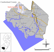 Map of Seabrook Farms CDP in Cumberland County. Inset: Location of Cumberland County in New Jersey.