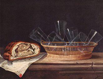 Sebastian Stoskopff - Still life with basket of glasses (c. 1640; Strasbourg, Musée de l'Oeuvre Notre-Dame)