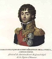 Color print of curly-haired man in a dark blue uniform with epaulettes and gold braid