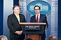 Secretary of the Treasury Steven Mnuchin and Secretary of State Mike Pompeo Participate in a Press Conference (49379915696).jpg
