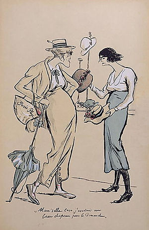 Coco Chanel - Chanel (right) in her hat shop, 1919. Caricature by Sem.