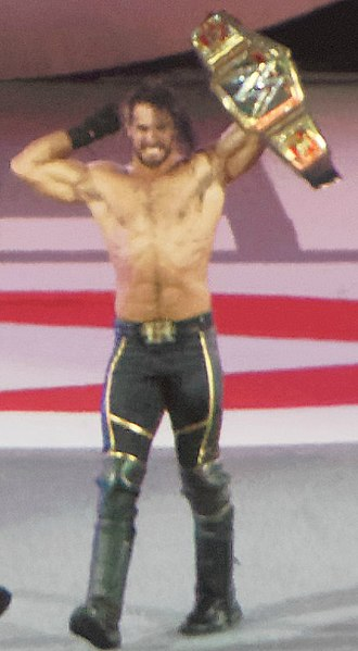 WWE Money in the Bank - Seth Rollins, moments after becoming the WWE World Heavyweight Champion at WrestleMania 31.