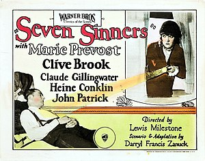 Seven Sinners (1925 film) - Lobby card